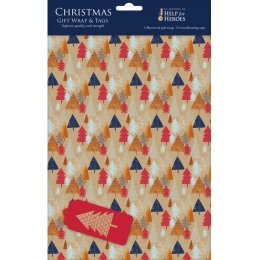 Help for Heroes Christmas Trees Gift Wrap - 5 Sheets with Tags