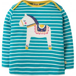 Frugi Bobby Applique Top - Dala Horse