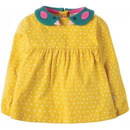 Frugi Bluebird Collar Top - Gorse Speckly Spot