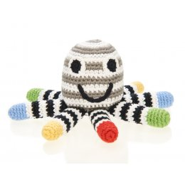 Fair Trade Octopus Rattle - Black & White