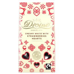 Divine White Chocolate & Strawberry Hearts - 80g