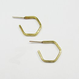 Made Brass Mini Hexagon Hoop Earrings