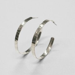 Made Silver Hammered Hoop Earrings