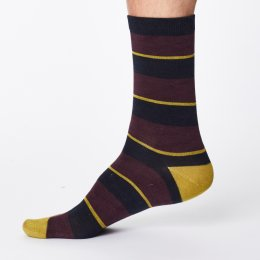 Thought Enfield Stripe Bamboo Socks - Aubergine