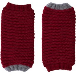 Ally Bee Eco Cashmerino Cuff Gloves - Red & Grey