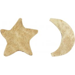 People Tree Brass Star and Moon Earrings