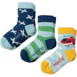 Frugi Helicopter & Plane Rock My socks - Pack of 3