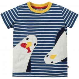 Frugi Striped Seagull Sid Applique T-Shirt