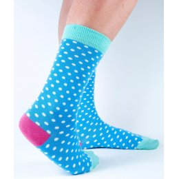 Doris & Dude Womens Blue Spot Bamboo Socks