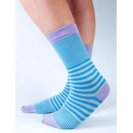Doris & Dude Womens Blue & Grey Stripe Bamboo Socks