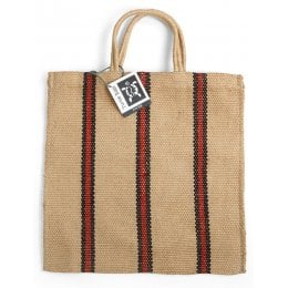 Fair Trade Jute Red and Black Stripey Tote Bag