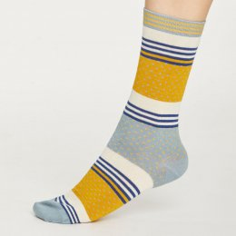 Thought Womens Mustard Dotty Stripe Bamboo Socks
