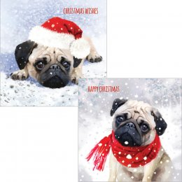 Cute Christmas Pug Luxury Mixed Charity Cards - Pack of 10