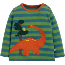 Frugi Dino Wilf Wraparound Applique Top