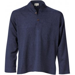 Cotton Khaddar Long Sleeve Shirt - Navy