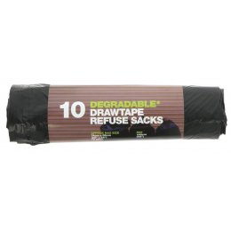 d2w Degradable Drawtape Refuse Sacks - 70L - Roll of 10