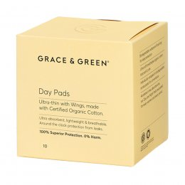 Grace & Green Organic Cotton Pads with Wings - Day - Pack of 10