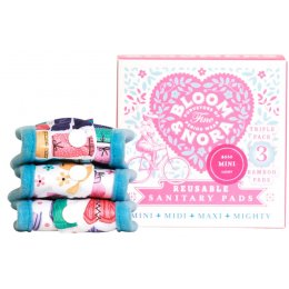 Bloom & Nora Reusable Sanitary Pads & Bag - Bloom Mini - Assorted Designs - Pack of 3