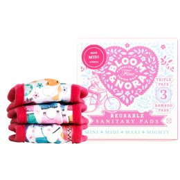 Bloom & Nora Reusable Sanitary Pads & Bag - Bloom Midi - Assorted Designs - Pack of 3