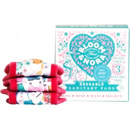 Bloom & Nora Reusable Sanitary Pads & Bag - Nora Midi - Assorted Designs - Pack of 3