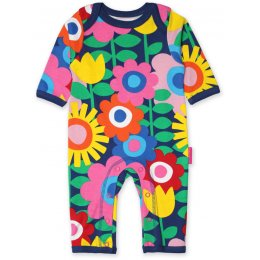 Toby Tiger Organic Navy Flower Power Sleepsuit