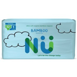 NÜ Disposable Bamboo Nappies - Newborn - Size 1 - Pack of 32
