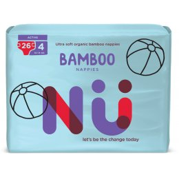 NÜ Disposable Bamboo Nappies - Active - Size 4 - Pack of 26