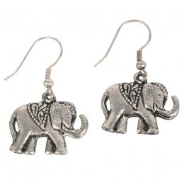 Silver Coloured Elephant Earrings