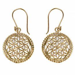 Gold Coloured Cutwork Mandala Drop Earrings