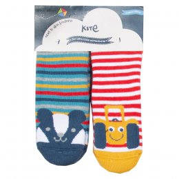 Kite Badger & Tractor Grippy Socks - 2 Pairs