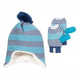 Kite Blue Stripe Hat & Mitts