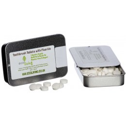 ecoLiving Toothpaste Tablets with Fluoride Tin - 62 Tabs