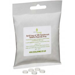 ecoLiving Fluoride Free Toothpaste Tablets Refill Bag - 125 Tablets