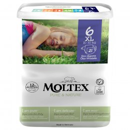 Moltex Pure & Nature Disposable Nappies - XL - Size 6 - Pack of 21