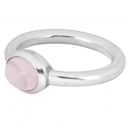 People Tree Silver Oval Rose Quartz Ring