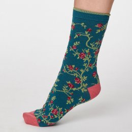 Thought Lagoon Blue Floreale Bamboo Socks - UK4-7