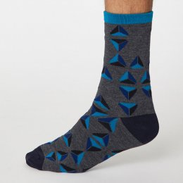 Thought Dark Grey Marle Geometrico Bamboo Socks - UK7-11