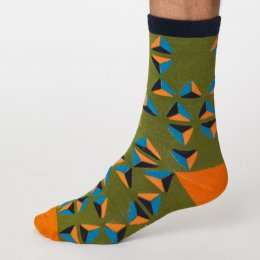 Thought Olive Green Geometrico Bamboo Socks - UK7-11
