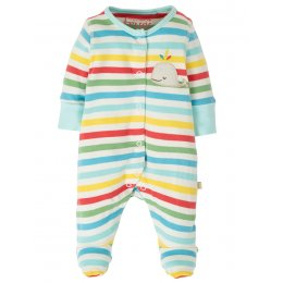 Frugi Little Applique Stripe Babygrow