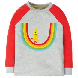 Frugi Grey Marle Rainbow Raglan Top