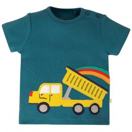 Frugi Steely Blue Truck Scout Applique Top