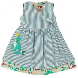 Frugi Seersucker Stripe Dino Nora Reversible Dress