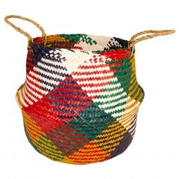 Large Multi Colour Seagrass Rice Basket