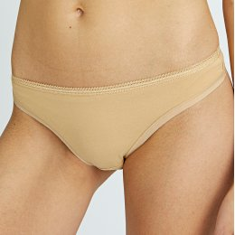 People Tree Organic Cotton Thong - Almond