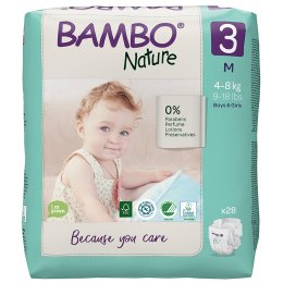 Bambo Nature Disposable Nappies - Midi - Size 3 - Pack of 28