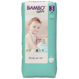 Bambo Nature Disposable Nappies - Midi - Size 3 - Economy Pack of 52