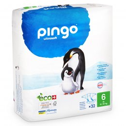 Pingo Ecological Disposable Nappies XL - Size 6 - Pack of 32