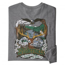 Patagonia Long Sleeved Yes to Wilderness Responsibili-Tee - Gravel Heather
