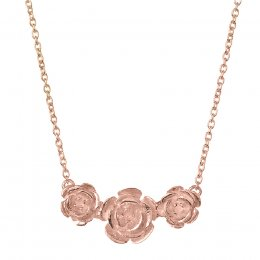 Kashka London Roses in a Row Sterling Silver Rose Gold Plated Necklace