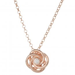 Kashka London Joy Sterling Silver Rose Gold Vermeil Necklace with White Topaz